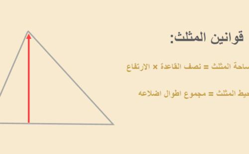 قوانين المثلث : مساحة المثلث و محيط المثلث